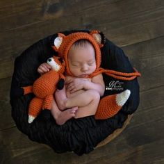 Crochet Fox Hat, Tail, and Matching Plush Toy Pattern by AMKCrochet.com