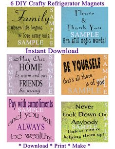 DIY Crafty Refrigerator, Locker Etc. Magnet Sayings For Your Home Or Gifts. Instant Digital Download. Unlimited Prints.