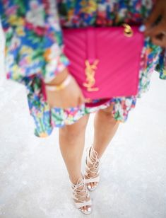 JUNE 12, 2015 Floral Kimono Dress - DRESS: Maisie | SANDALS: Steve Madden | SUNGLASSES: Ray-Ban (on sale!) | BAG: YSL (also love this style YSL & this pink bag!) | NECKLACE: BaubleBar | BRACELET: Hermes, David Yurman | RING: Kendra Scott | LIPS: Stripdown + Please me