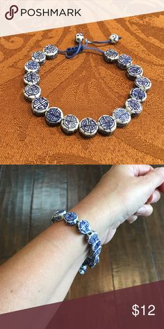 Chinese good luck bracelet Sizable, blue and white, good luck bracelet Jewelry Bracelets