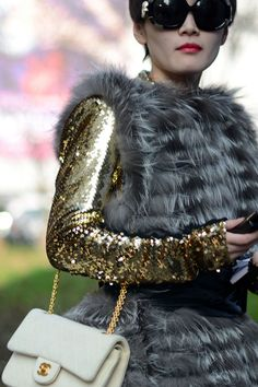 Chanel & gold sequins - with the infamous faux fur vest I bought in Paris? Daily Fashion, Love Fashion, High Fashion, Winter Fashion, Womens Fashion, Fashion Trends, Fashion Models, Coco Chanel, Street Chic