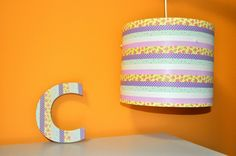 washi tape letter and lamp shade