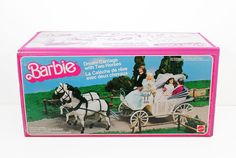 1984 Barbie - Dream Carriage & Two Horses Barbie 80s, Barbie Dream, Vintage Barbie Dolls, Barbie And Ken, Vintage Toys, Barbie Stuff, Toys For Girls, Girl Toys, Barbie Horse