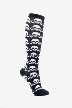 http://www.brokencherry.com #loungefly  Skull Pattern Black/White Knee Sock   $12.00
