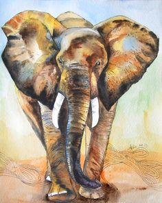 OOAK 8x10 Original Watercolor Elephant art Nursery by asho on Etsy