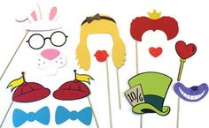 themed photography props | Photo Booth Props- Alice in Wonderland Themed- Photo Booth Props with ...