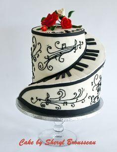 Musical musician piano keyboard symphony cake birthday wedding violin viola cello base string instrument black white red fondant waterfall swirl staircase