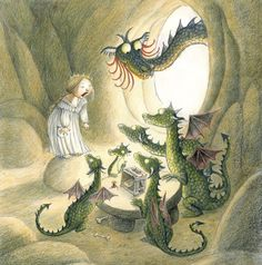 Illustration of Princesses and Dragons by Eva Eriksson