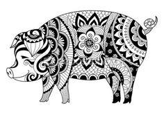 Zentangle dessin cochon pour Coloriages pour adulte ou autres décorations