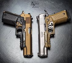 Colt Delta Elite or the Ruger Both featuring the ReCover Tactical Grip and Rail System. Military Weapons, Weapons Guns, Guns And Ammo, 2 Guns, Ruger 1911, Armas Airsoft, Armas Ninja, Custom Guns, Cool Guns