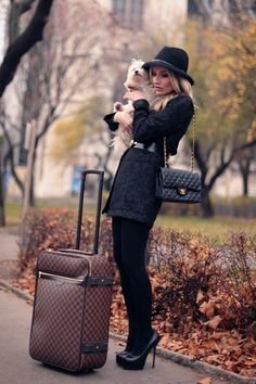 Black Hat, Black Coat, Black Belt...Cute pup and oh how I want that bag!