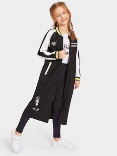 Girls Zip Up Contrast Panel Graphic Print Coat Contrast Teenage Girl Outfits, Kids Outfits Girls, Girly Outfits, Preteen Fashion, Girls Fashion Clothes, Girl Fashion, Cute Summer Outfits, Cute Casual Outfits, Stylish Outfits