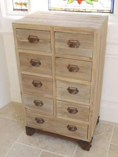 Vintage Shabby Chic Retro Urban Style Wooden 9 Drawer Cabinet Cupboard Chest in Home, Furniture & DIY, Furniture, Cabinets & Cupboards | eBay