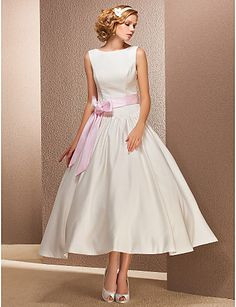 A-line Bateau Natural Tea-length Sleeveless Satin Chic Modern Hall Wedding Dress #168923(More color option)