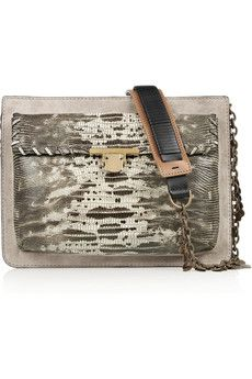 Lanvin Suede and lizard-effect leather shoulder bag | THE OUTNET