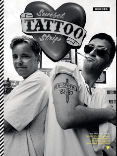 Electronic In Los Angeles  Bernard Sumner and Johnny Marr of the band Electronic pose for a portrait outside a tattoo parlour on Sunset Strip, Los Angeles, USA, August 1990. Johnny Marr has a tattoo drawn on to his arm which reads 'Ex-Smith '82 to '87' referring to his former band The Smiths. (Photo by Kevin Cummins/Getty Images)   (as seen in GQ September 2012)