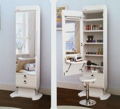 Elegani Makeup Hair Orgnanizer Table LED Lights Closet Vanity Beauty Body Mirror - Vanities & Makeup Tables
