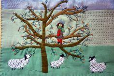"""~ Manuella Chevrel ~ """"Revenir à ses moutons.Chaque tableau est une création unique entièrement faite à l'aiguille; j'emploie différents tissus, du lin, du chanvre, du liberty , du coton etc. Les différentes matières ,points, épaisseurs varient. Je m'intéresse aux dictons populaires, riches en images, aux ressemblances, à l'imagerie enfantine et crée des """"mondes imaginaires""""."""
