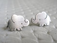 Elephant Earrings Studs Sterling Silver by pippoko on Etsy, $25.00