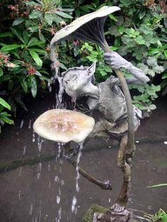 Bronze Water Features, Fountains and Cascades sculpture by artist David Goode titled: 'Goblin and Mushroom (bronze garden Imp or Gobblin Drinking Water Featu)'