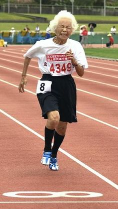 Are you faster than a 90-year-old? Japan's Turbo Granny has run the 100m in 23.8 seconds. THERUNNING.CO.UK #therunningbug #running #Japan