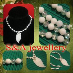 Necklace with agate and mother of pearl