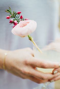 Photography: Cambria Grace Photography - cambriagrace.com  Read More: http://www.stylemepretty.com/2014/05/02/diy-fresh-flower-drink-stirrer/
