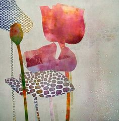 Artist unknown -  create effect through a watercolour or pattern ground. Then paint white into negative space