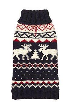 """Fab Dog Knit Turtleneck Dog Sweater Moose Fairisle Navy 12"""" Length"""