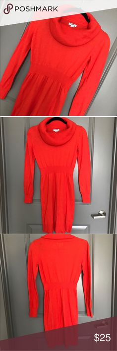 TURTLE NECK SWEATER DRESS OLD NAVY 💗Condition: EUC, No flaws. No rips, holes pr stains. Color: red-orange.  💗Smoke free home 💗No trades 💗No returns 💗No modeling  💗Shipping next day 💗OPEN TO reasonable OFFERS  💗BUNDLE and save more (item77) Old Navy Dresses Long Sleeve