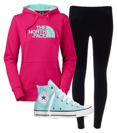 """""""north face hoodie sky blue leggings"""" by melissa-boucher-i on Polyvore featuring The North Face and Converse"""