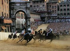 The Palio di Siena (known locally simply as Il Palio) is a horse race held twice each year on July 2 and August 16 in Siena, Italy, in which ten horses and riders, bareback and dressed in the appropriate colours, represent ten of the seventeen Contrade, or city wards.