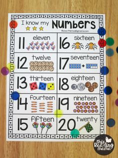 Printable Number Chart for Numbers - This Reading Mama Preschool Charts, Kindergarten Anchor Charts, Math Charts, Numbers Kindergarten, Kindergarten Math Activities, Kids Math Worksheets, Numbers Preschool, Maths, Multiplication Games