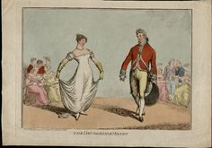 George III and the future Prince Regent were known to have had rows about Princess Charlotte flirting with the Duke of Devonshire. This image shows Princess Charlotte and the Duke of Devonshire, not caricatured, dancing the minuet together, they are both portrayed as a very handsome pair. There are two groups of interested spectators; the ladies are seated whilst the gentlemen stand.