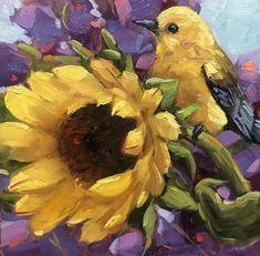 "Daily Paintworks - ""Sunshine"" - Original Fine Art for Sale - © Krista Eaton Bird Artwork, Floral Artwork, Animal Paintings, Mini Paintings, Acrylic Paintings, Collage, Watercolor Bird, Beautiful Drawings, Whimsical Art"