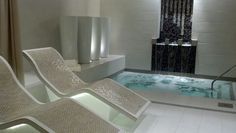 Heated glass tile chaise lounge at Mandara Spa in Cherokee, NC. Total relaxation as I lay in one of these awesome chairs after a massage and pedi!!