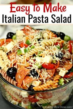 This is the perfect Italian pasta salad recipe for any BBQ, potluck or party. This easy pasta salad is loaded with Italian salad dressing, cheese, cheery tomatoes, olives, veggies and so much more! Also, this classic recipe is budget friendly and is great for feeding a crowd. #eatingonadime #pastasalad #partyfood #appetizer #easyrecipes Easy Pasta Salad Recipe, Best Pasta Salad, Pasta Salad Italian, Easy Salad Recipes, Recipes Dinner, Pasta Salad Recipes Cold, Summer Pasta Salad, Simple Pasta Salad, Cold Pasta Salads