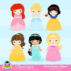 "Clasicc Princess Digital Clipart: ""PRINCESS""  Princess clip art, Princess Clipart for Personal and Commercial Use / INSTANT DOWNLOAD"