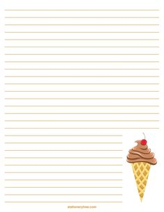 Printable ice cream stationery and writing paper Printable Lined Paper, Free Printable Stationery, Free Printables, Diy Paper, Paper Crafts, Christmas Writing, Journal Paper, Note Paper, Homemade Cards