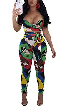e19cca625aec DingAng Women Short Sleeve Floral Print Crop Top Bodycon Long Pant Jumpsuits  2 Piece Outfits 2