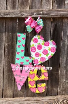 Valentines Decor Door Hanger Floral love by TheSalvageSistersTX Valentine Day Love, Valentine Day Crafts, Holiday Crafts, Valentine Ideas, Love Wooden Sign, Wooden Door Hangers, Wood Cutouts, Kids Wood, Valentines Day Decorations