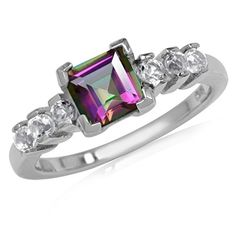 1.26ct. Mystic Fire Topaz White Gold Plated 925 Sterling Silver Engagement Ring Size 10 >>> To view further, visit now : Engagement Ring