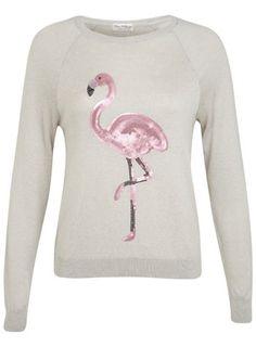 Pullover mit Pailletten-Flamingo