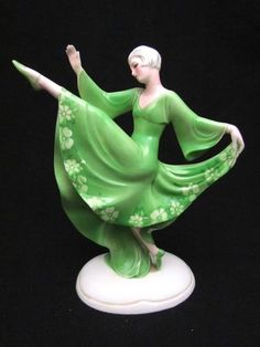 Vintage 1930's Deco Katzhutte Hertwig Deco Dancing Lady Figurine A F | eBay