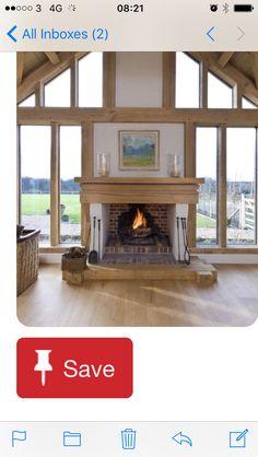 Inglenook fireplace in glazed oak frame gable, by Roderick James Architects Inglenook Fireplace, Fireplaces, Brick Fireplace, Fireplace Windows, Country Fireplace, Fireplace Kitchen, Fireplace Ideas, Oak Frame House, House Extensions