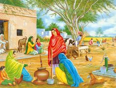 Village in Punjab (Reprint on Paper - Unframed)