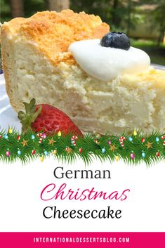 Best Authentic German Cheesecake (Käsekuchen) - This easy & authentic German Cheesecake is so good! Make it with quark or cottage cheese, no sour c - New Year's Desserts, German Desserts, Delicious Desserts, Dessert Recipes, German Recipes, Austrian Recipes, Plated Desserts, Christmas Cheesecake, Christmas Desserts