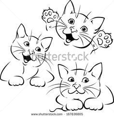 vector cat playing - black outline illustration