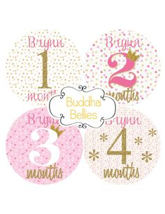 Personalized Baby Girl Month Stickers Pink and Gold Glitter Confetti Month Baby…
