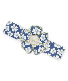 Loving this Blue & Ivory Floral Headband on #zulily! #zulilyfinds